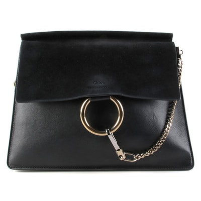 Chloé Faye Black Leather and Suede Shoulder Bag