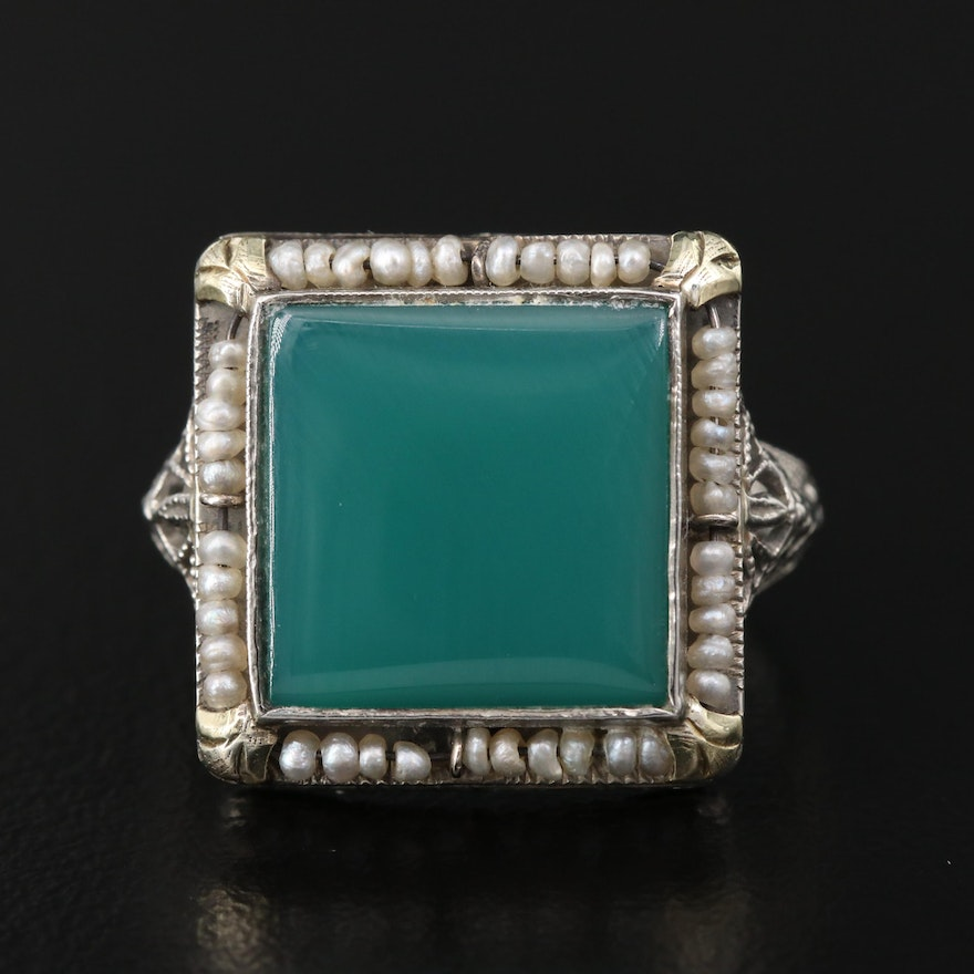 Vintage Chalcedony and Seed Pearl Openwork Ring