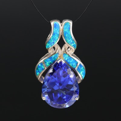 Sterling Glass and Opal Slide Pendant