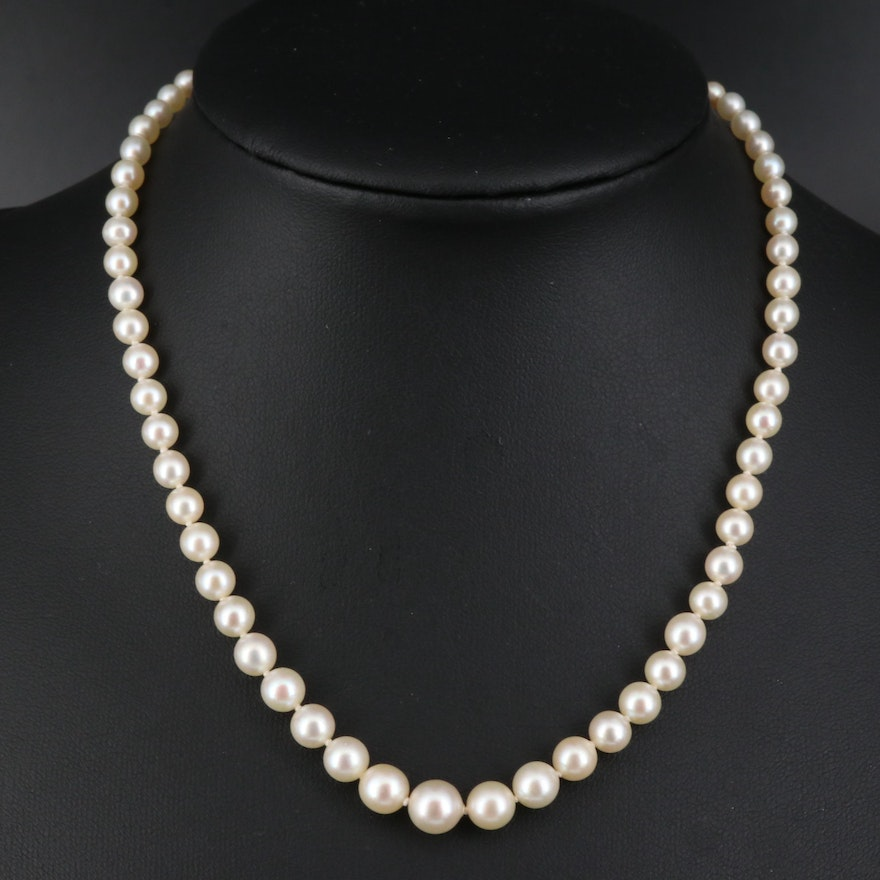 Graduated Knotted Pearl Necklace with Diamond Accented 14K and Platinum Clasp