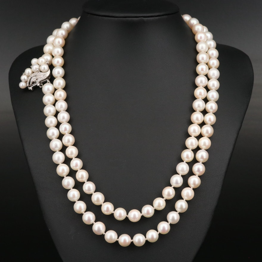 Vintage Knotted Pearl Necklace with 14K Diamond Clasp