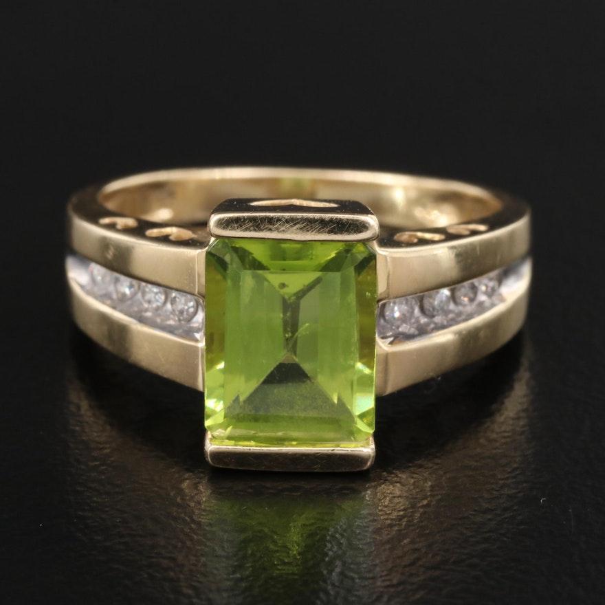 14K Peridot and Diamond Ring with Heart Peekaboos