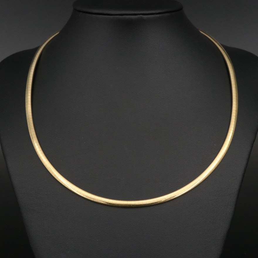14K Omega Necklace with Removable Extender