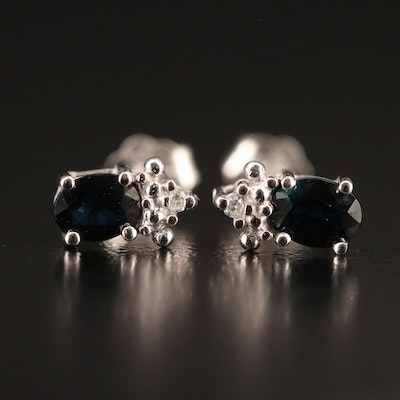 10K Sapphire and Diamond Stud Earrings