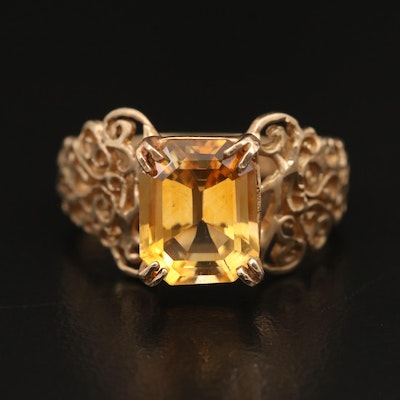 10K Citrine Scrollwork Ring