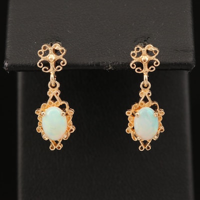 14K Oval Opal Cabochon Earrings