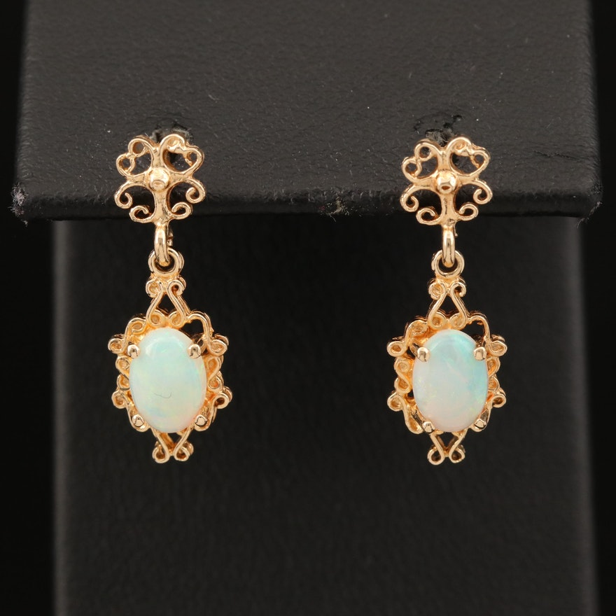 14K Oval Opal Cabochon Earrings