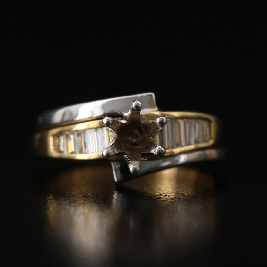 18K Diamond Semi-Mount Ring with Shadow Band