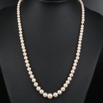 Knotted Pearl Graduated Necklace with Diamond Accented 14K Clasp