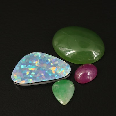 Loose Mixed Gemstones Including Ruby, Jadeite and Nephrite