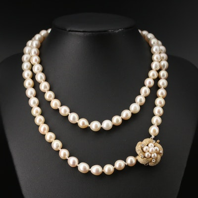 Vintage 14K Pearl and Diamond Necklace