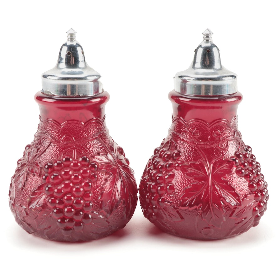 """Imperial """"Grape"""" Cranberry Glass Shakers, Mid-20th Century"""