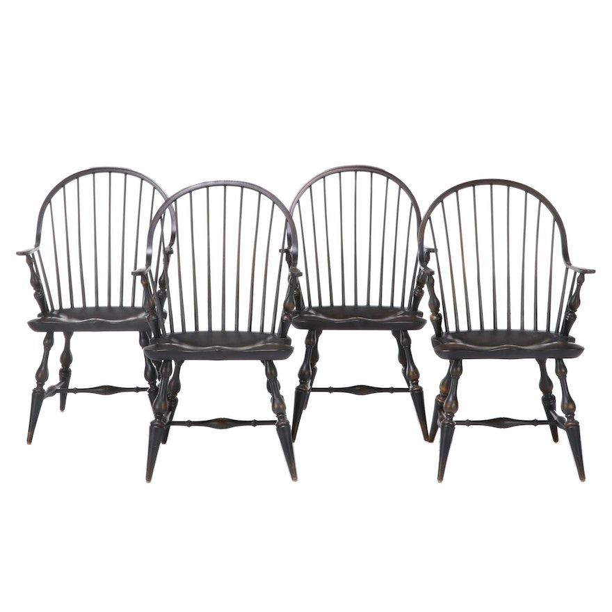 Four American Primitive Style Ebonized Continuous-Arm Windsor Chairs