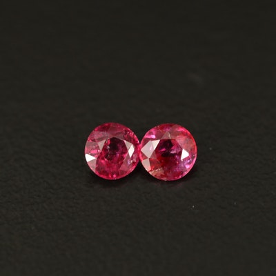 Loose 0.77 CTW Matched Pair of Rubies