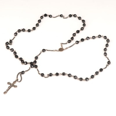 Sterling Rosary with Faceted Black Glass Beads