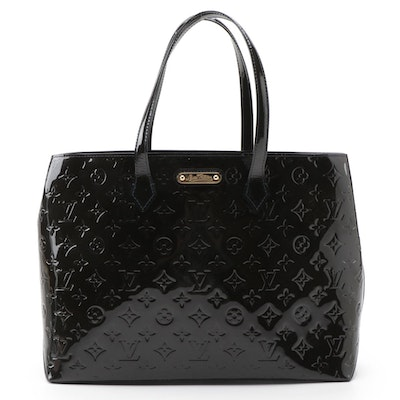 Louis Vuitton Monogram Bleu Inifini Vernis Wilshire MM Tote Bag