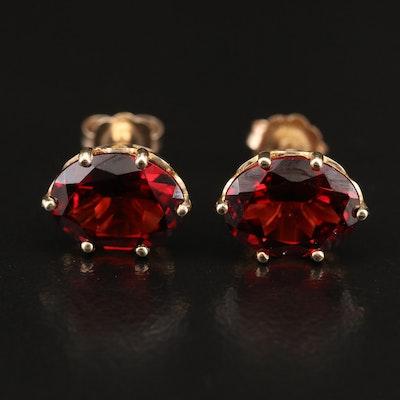 10K Garnet Oval Stud Earrings