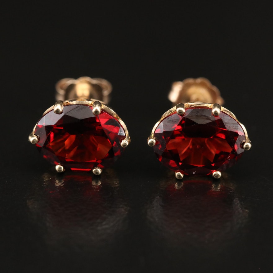 10K Garnet Oval Stud Earrings