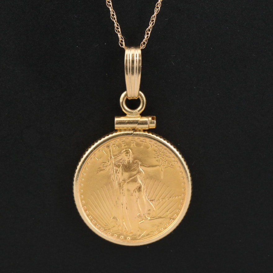 14K Coin Bezel Necklace with Five Dollar Gold Eagle Bullion Coin
