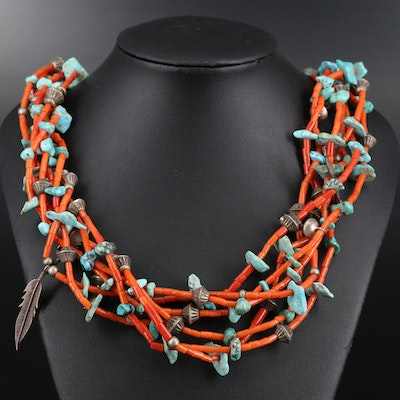 Southwestern Style Sterling Silver Coral and Turquoise Necklace