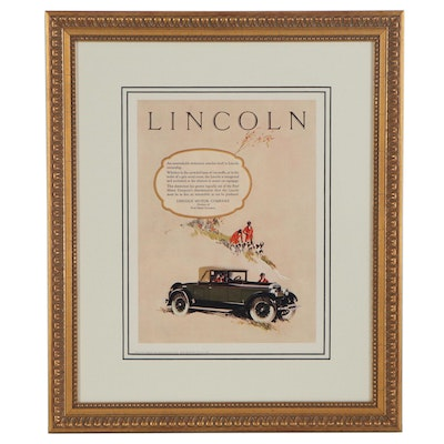 Lincoln Motor Company Offset Lithograph Advertisement Page, 1926
