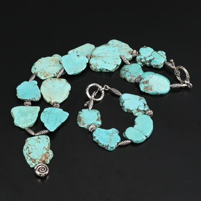 Sterling Silver Magnesite Necklace and Bracelet Set