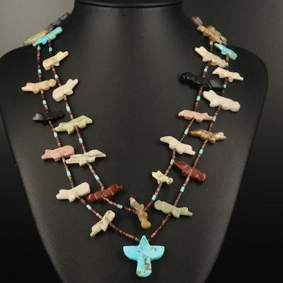 Southwestern Turquoise and Gemstone Double Strand Fetish Necklace