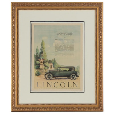 Lincoln Motor Company Offset Lithograph Advertisement, circa 1924