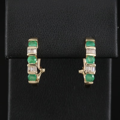 10K Emerald and Diamond J Hoop Earrings