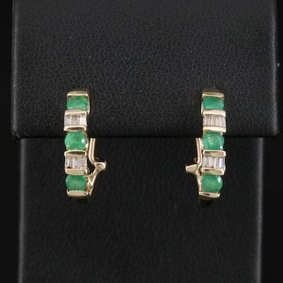 10K Emerald and Diamond J Hoop Earrings