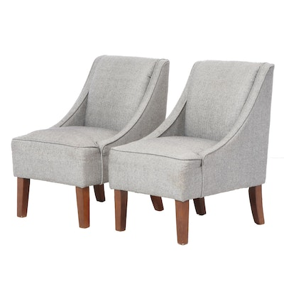 Pair of Skyline Furniture for Target Upholstered Slipper Chairs