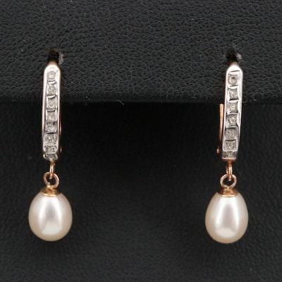 14K Pearl and Diamond Dangle Earrings
