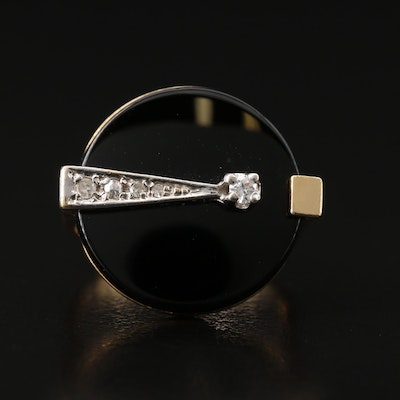 Contemporary 14K Diamond and Black Onyx Ring