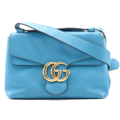 Gucci GG Marmont Shoulder Bag in Blue Grained Calfskin Leather