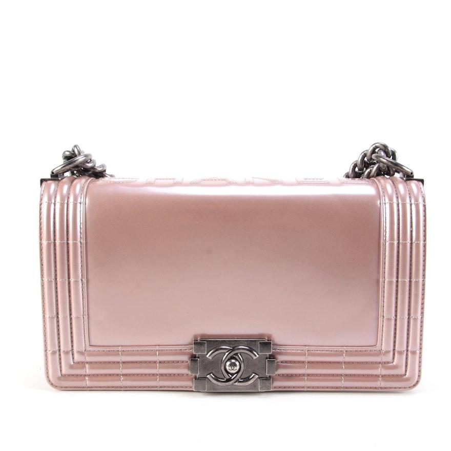 Chanel Iridescent Pink Patent Calfskin Medium Reverso Boy Bag