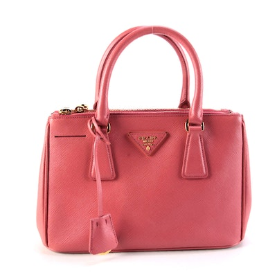 Prada Small Double Zip Lux Tote in Pink Saffiano Leather