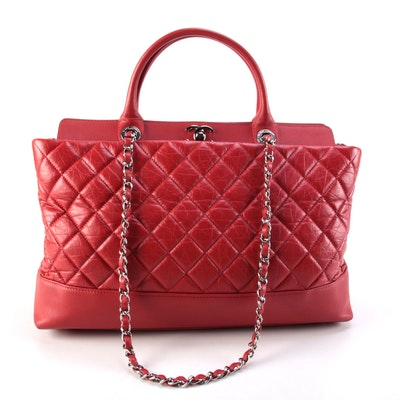 Chanel Be CC Red Caviar Leather Tote Bag