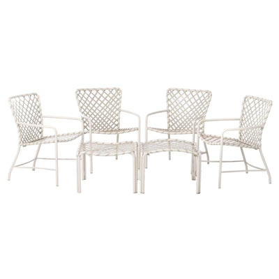 Set of Metal Framed Outdoor Patio Chairs with Ottomans