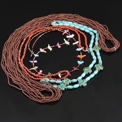 Southwestern Style Necklaces with Howlite, Mother of Pearl and Shell