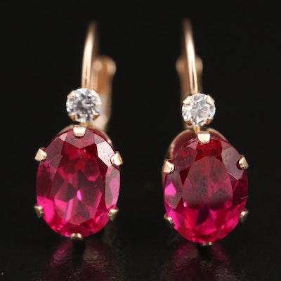 10K Ruby and Cubic Zirconia Earrings