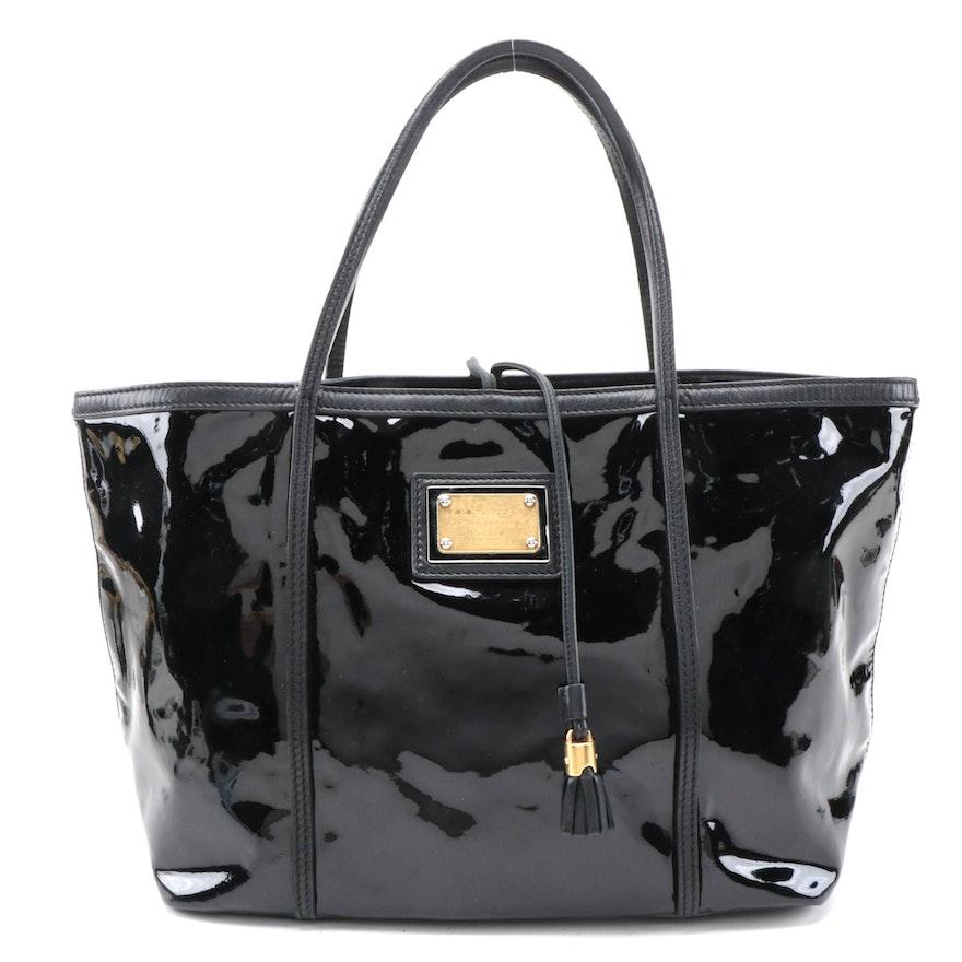 Dolce & Gabbana Miss Escape Open Tote in Black Patent Leather
