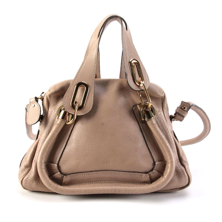 Chloé Paraty Beige Leather Two-Way Top Handle Bag