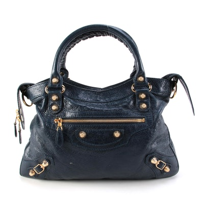 Balenciaga Town Giant Studs Navy Leather Satchel