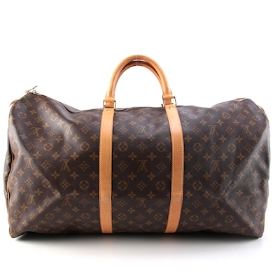 Louis Vuitton Keepall 60 Duffel Bag in Monogram Canvas and Vachetta Leather Trim