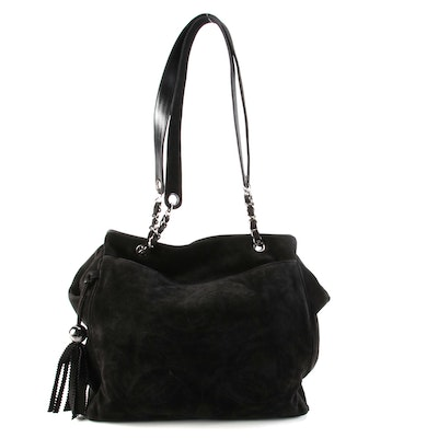 Chanel Triple CC Shoulder Bag in Black Suede with Tassel