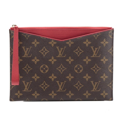 Louis Vuitton Pallas Pochette in Monogram Canvas and Cerise Leather
