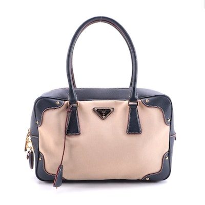 Prada Bauletto Beige Canvas and Navy Saffiano Leather Handbag