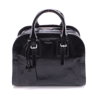 Saint Laurent Grenelle Crinkle Black Leather Two-Way Top Handle Bag