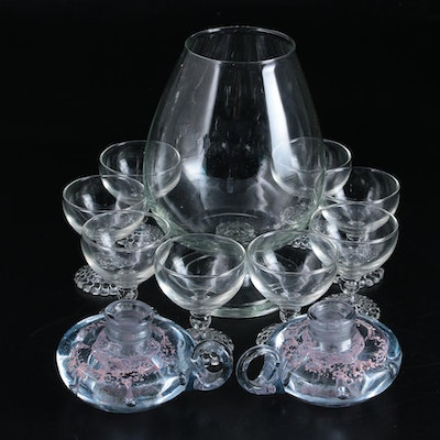 Hobnail Stemmed Coupes with Other Glass Bar and Tableware, Mid-20th Century