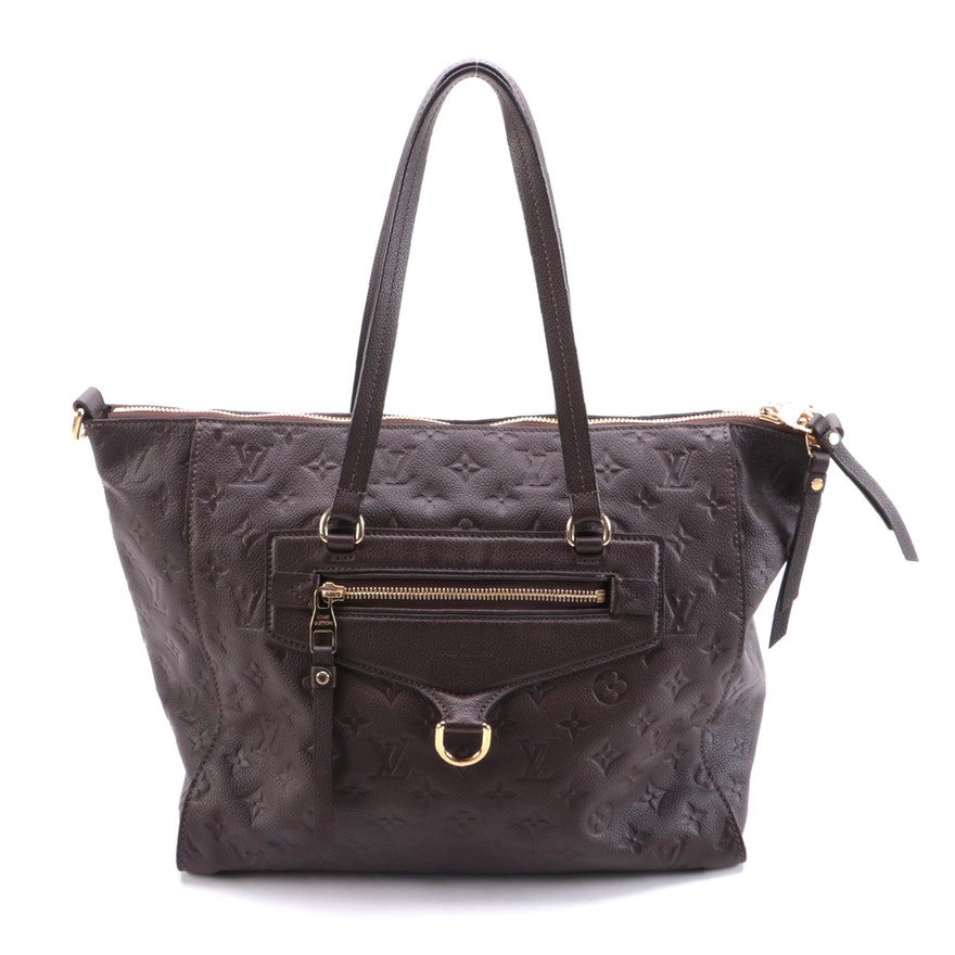 Louis Vuitton Lumineuse Two-Way Tote in Brown Monogram Empreinte Leather